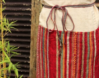Tube Skirt Handmade Vintage Tribal Cotton Silk Thái Hill Tribe Vietnam Ethnic Hippie