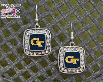 Georgia Tech Yellow Jackets Square Earrings