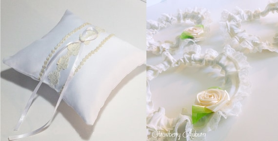 Wedding Garters and Ring Bearer Pillows made from your Wedding Dress