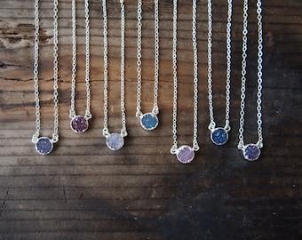 Agate Druzy Necklace Sterling Silver Druzy Necklace Gemstone Choker Necklace Drusy Stone Necklace Bridal Necklace Bridesmaids Necklace