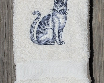 Embroidered Royal Cat Bathroom Guest Towel Cat And Crown Embroidered Hand Towel Cat Towel