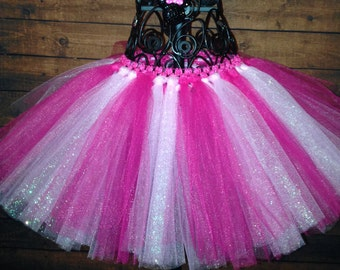 Baby Girl hot light pink white tutu skirt 6 9 12 18 months 2T tulle infant kitty mouse birthday princess