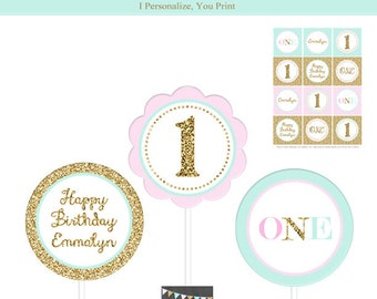 Sparkle Cupcake Toppers - Faux Glitter Printable Birthday Cupcake Toppers - Pink Mint Gold Party Circles - Personalized - DIY - Printable