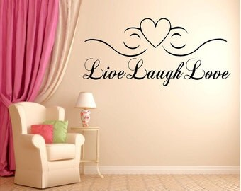 Vinyl Live, Laugh, Love Wall Quote, Inspirational Quote, Live, Laugh, Love Wall Art
