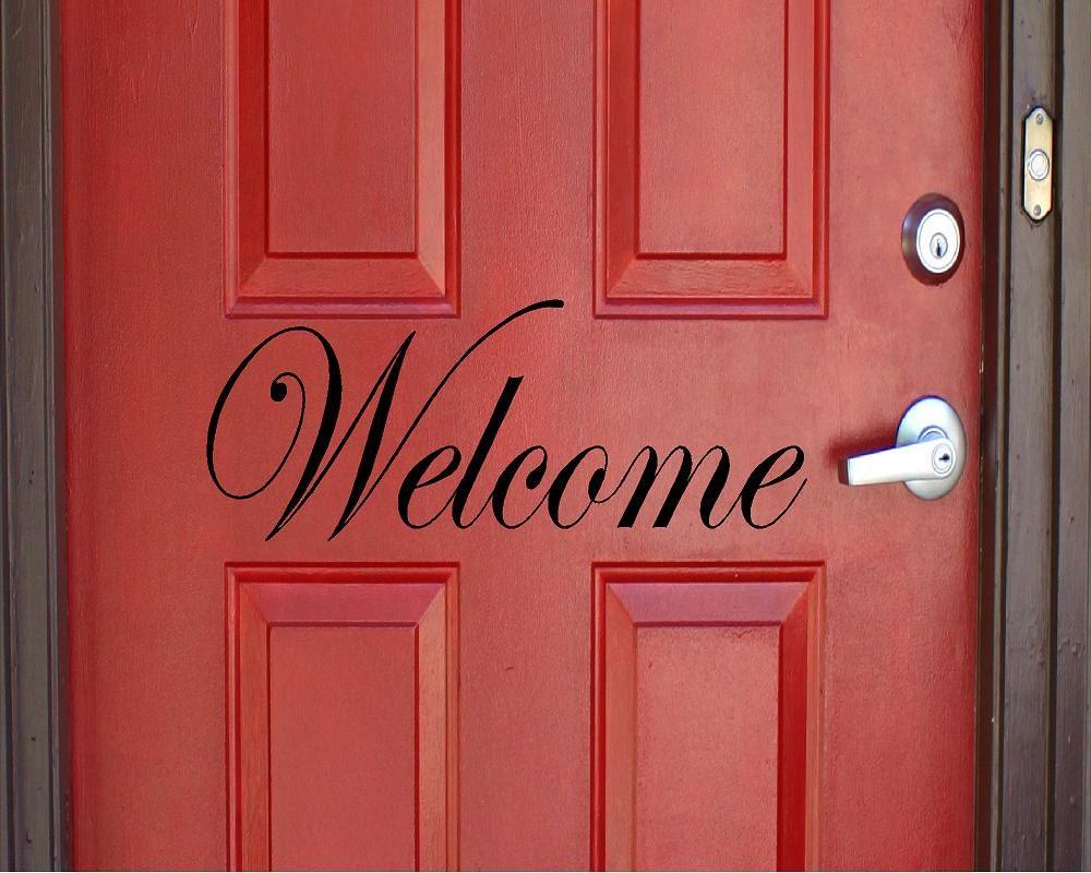 Vinyl Welcome Door Decal Welcome Sticker Door Decal