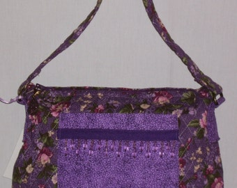 Purple Quilted Beaded Purse