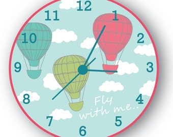 Gift For Kids, Children Art Decor, Kids Wall Clock, Hot Air Balloon With Clouds