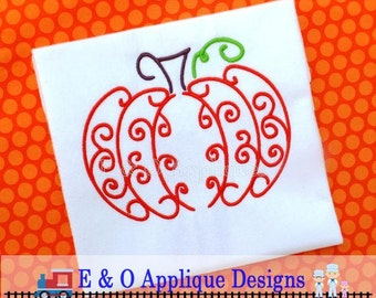 Pumpkin Embroidery Design - Fall Embroidery Design - Halloween Embroidery Design - Kitchen Embroidery - Swirly Pumpkin Embroidery Design
