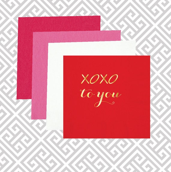 xoxo valentines napkins, valentines day decor napkins, valentines gift, pink napkins, valentines day party supplies