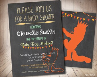 Where the wild things are Baby Shower, Wild Rumpus Shower Invitation, Where the wild things are Shower Invitation, Baby Shower