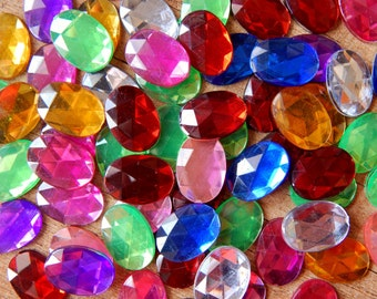 70pcs. Flatback faceted acrylic cabochons, mixed colours 14x10mm