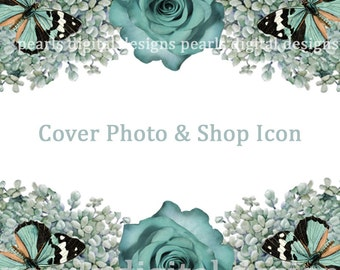 Cover banner and Shop Icon matching set, instant download, blank, 3360 x 840 pixels, 500 x 500 pixels, aqua roses, birds, butterflies, white