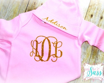 Monogrammed Newborn Gown Hat, Personalized Newborn Gown, Coming Home Outfit