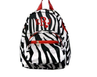 Personalized Mini Toddler Zebra Backpack - Tiny Baby Bag - Embroidered with Name or Initials - Zebra Print with Red Trim