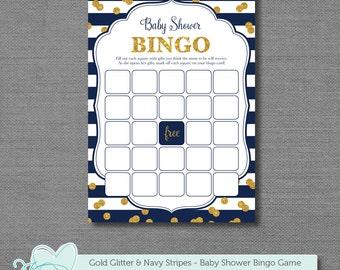 Gold Glitter and Navy Blue Stripes Bingo Baby Shower Game, Instant Download, Printable, Baby Bingo, Boy, Girl, Gender Neutral, Sparkle, 1G
