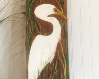 Egret on reclaimed wood