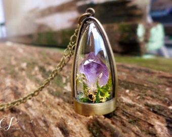 Raw Amethyst Necklace, Purple Crystal Necklace, Raw Quartz necklace, Crystal Terrarium Necklace, Long Druzy Necklace, February Birthstone