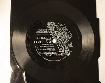"""Sounds of the Space Age Flexi Disc -  National Geographic 7"""" Record - History of Space Exploration - Landing of Man on the Moon"""