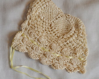 Vintage Cream Crochet Baby Bonnet with Yellow Ribbon