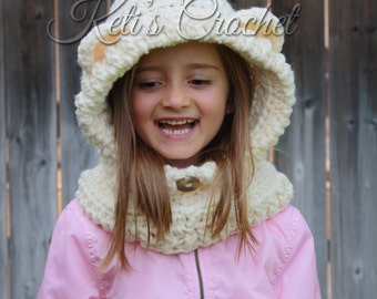 Boys Crochet Hooded Cowl,Bear Hooded Cowl,Kids Hooded Cowl,Baby Hooded Cowl,Toddler Hooded Cowl,Hooded Cowl,Character Cowl,Christmas Gift