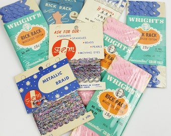 Vintage Rick Rack trim lot pink blue and metallic 8 packages Wrights and more