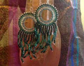Fringe Emerald Green and Silver Earrings