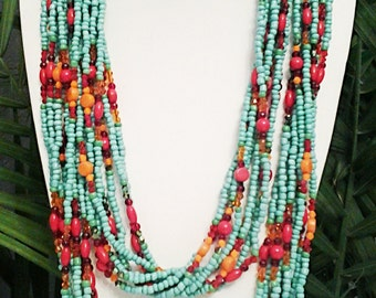 Teal, Red and Orange Endless Infinity Beaded Long Necklace / Summer Long Necklace.
