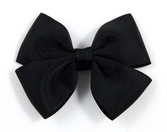 Black Hair Bow, Black Bow, Black Double Tuxedo Bow, Black Hair Clip (Item #10426)