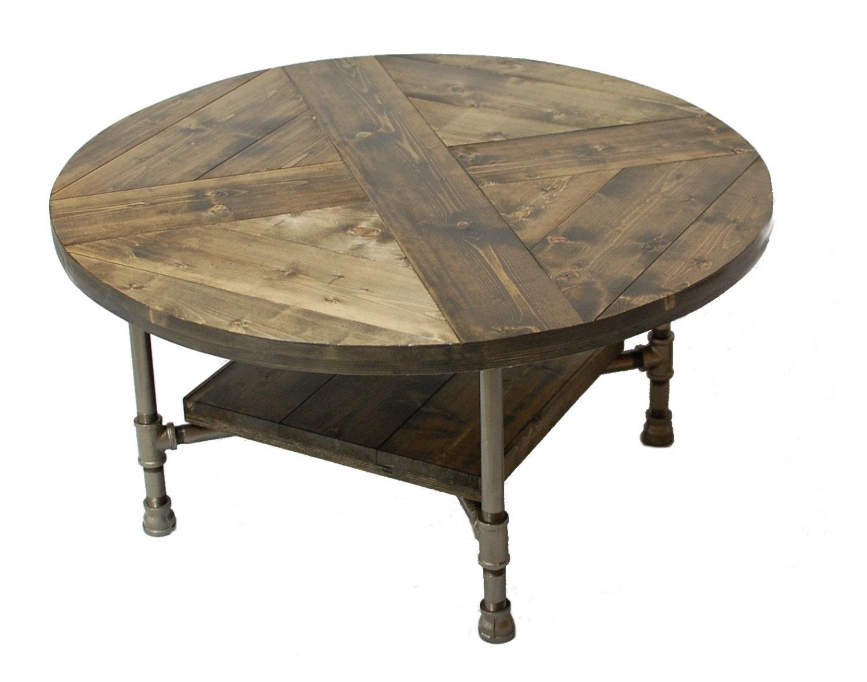 Round Industrial Coffee Table W Shelf Custom Wood Furniture Industrial Pipe Legs Rustic