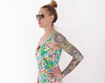 1980s swimsuit, vintage cotton bathing suit, women's one piece tropical leotard, size medium