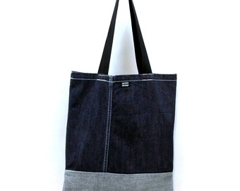Denim Bag of recycled jeans, dark blue
