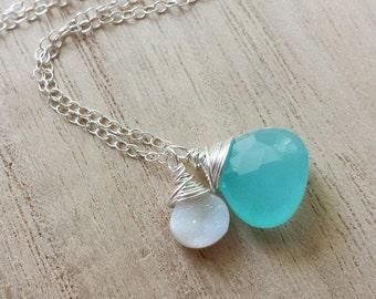 Aqua Chalcedony Necklace, Chalcedony Necklace, Sterling Silver Necklace, Druzy Quartz Necklace, Druzy Necklace