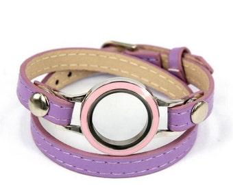 Leather locket wrap bracelets, build your own locket, custom bling