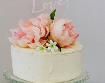Love cake topper. Acrylic cake topper. Wedding or engagement cake topper.