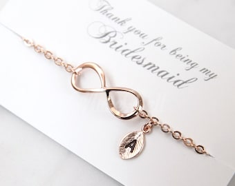 Rose gold infinity bracelet, Bridesmaid gift, Personalized bracelet, Rose gold bracelet, Friendship bracelet, Wedding bracelet,
