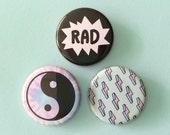 Pastel Button Pins - Rad, Yin Yang, Lightning Bolts - Flair Set of 3 - 90s