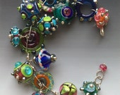 Candy Bracelet: handmade glass lampwork beads with sterling silver components