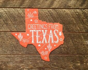 Texas Postcard, Greetings from Texas, Die Cut Letterpress State Postcard