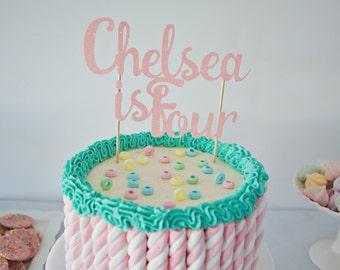 Custom name and age cake topper, Custom cake topper