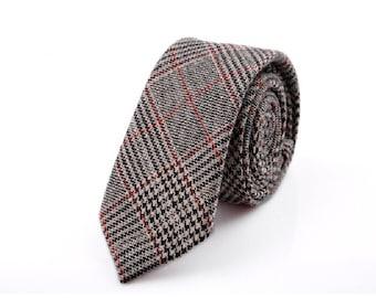 Brown Plaid Neckties.Mens Wool Ties.Formal Neckties.Wedding Accessories.Gift For Him