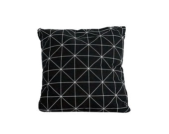 Throw cushion cover,  Black pillow cover, Geometric pattern pillow, Nordic design, Scandinavian style, Housewarming gift