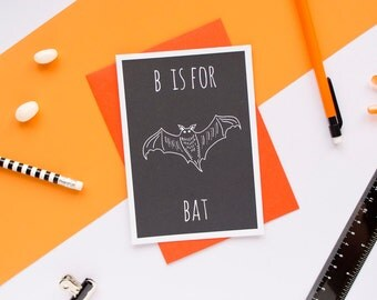 Bat Card. Animal Alphabet Card. 100% Recycled Card & Envelope