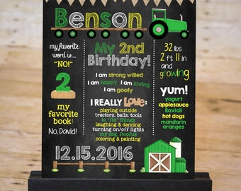 GREEN TRACTOR Chalkboard Sign, Tractor Birthday Board, Barn Yard Party Sign, Birthday Photo Prop, Printable