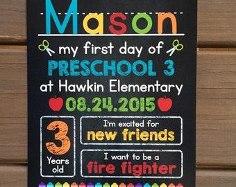 FIRST DAY of Preschool Sign, Chalkboard Sign, Kindergarten, Grade School, Back to School Sign, Printable