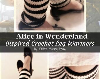 Alice in Wonderland inspired  Crochet Leg Warmers Pattern