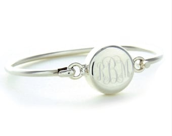 Round Monogrammed Sterling Silver Bracelet Bangle for Child or Adult - Engraved Gift