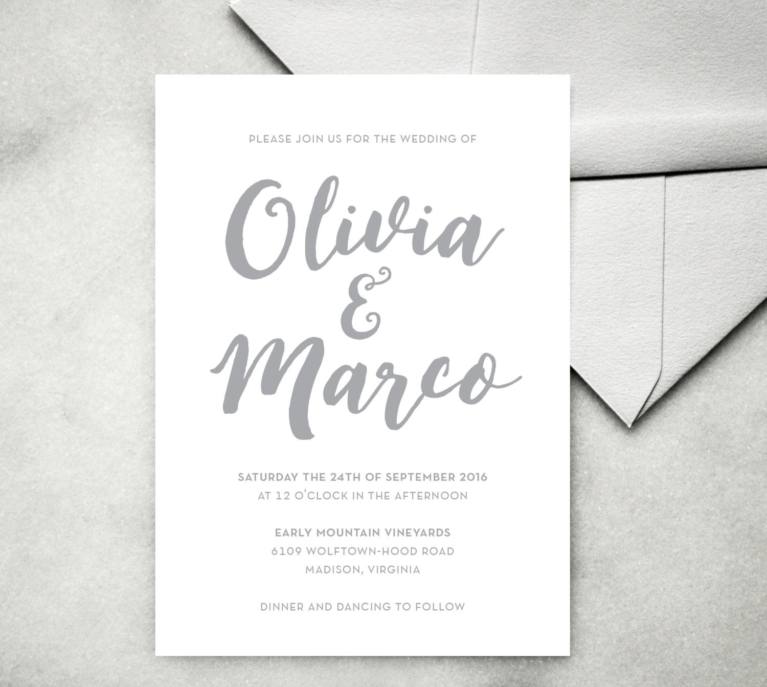 Printable Calligraphy Wedding Invitation Modern Minimalist