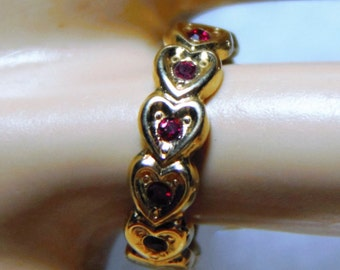 Estate Sale  Vintage Avon HEART To HEART RING (Red) (Size 7) ~Circa 1992~Original Price   19.95~~~65% Off ReDUCED