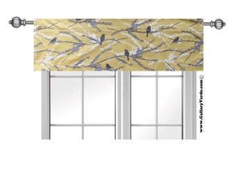 Yellow Valance. Yellow valence. Yellow Bird Valance .Window Topper.Joel Dewberry