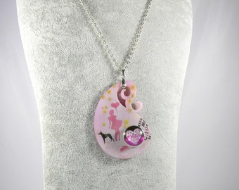 Trailer Paisley, acrylic trailers, girlie trailers, dog lover pendant, removable jewelry, heart, pink cabochon pendant, airbrush pendant,.